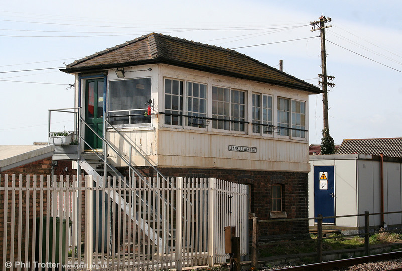 Llanelli West 'box, now reduced to the status of a Ground Frame, on 9th March 2009.