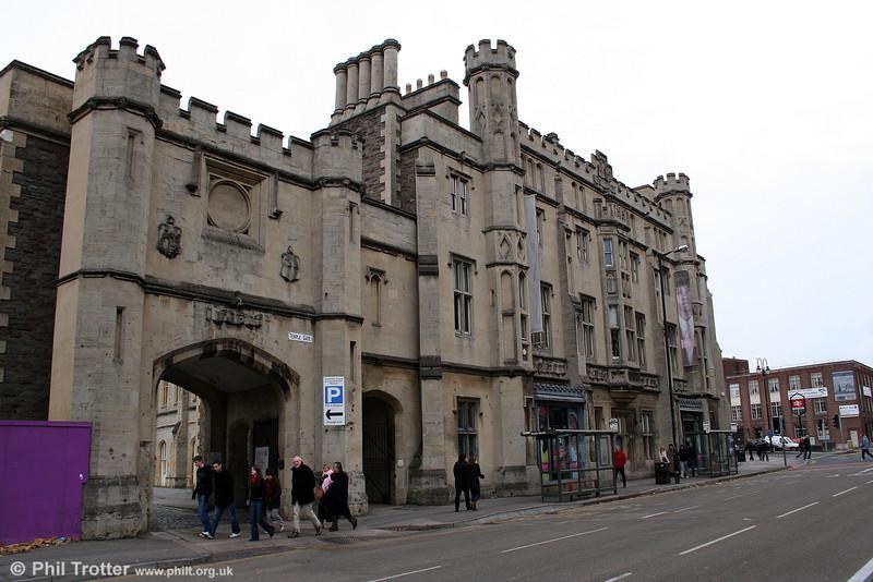 The elaborate exterior of Brunel's original terminus at Bristol Temple Meads, 1st November 2008.