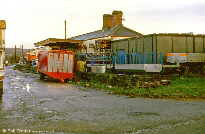 The remains of Cardigan Station, with the single platform and station building still present in April 1987. Passenger trains last called here in September 1962 and the line closed to goods the following May.