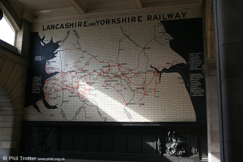 The tiled map of the Lancashire and Yorkshire Railway and war memorial at Manchester Victoria Station, 9th September 2006.