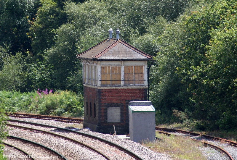 Llandarcy Signal Box, built in 1920, on the Swansea District Line and photographed on 12th July 2009. Latterly reduced to Ground Frame status, the 46 lever 'box was known at Lonlas South until 1923.