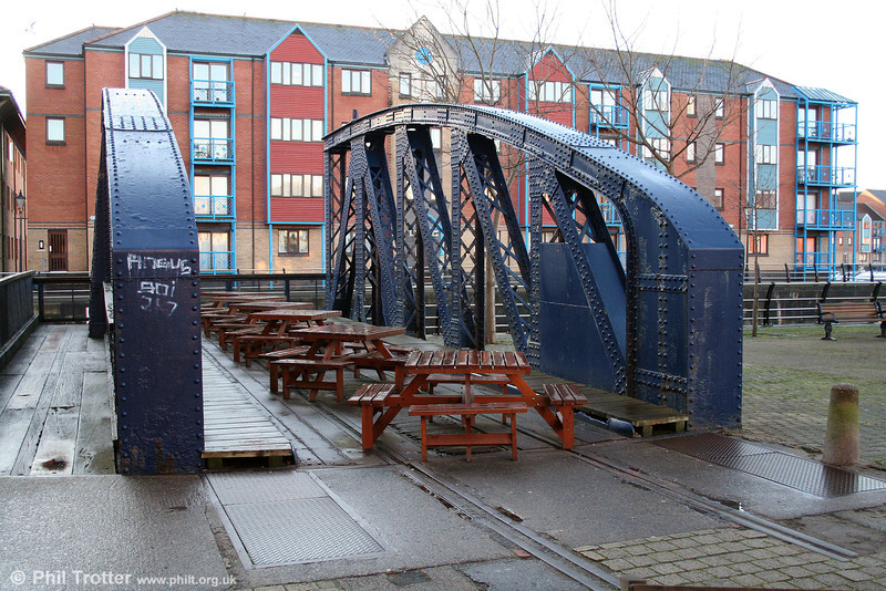 A short section of the complex of Swansea Harbour Trust lines which once surrounded the South Dock can still be seen on the remnant of the swingbridge, which dates from 1900. 6th December 2008.