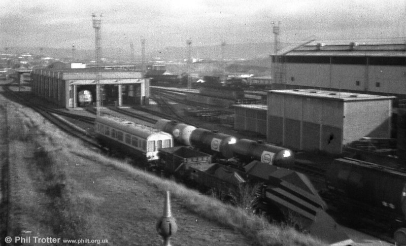 A general view of Swansea Landore Diesel Depot (87E), taken in the early 1970s. A class 52 'Western' can be seen in the running shed.