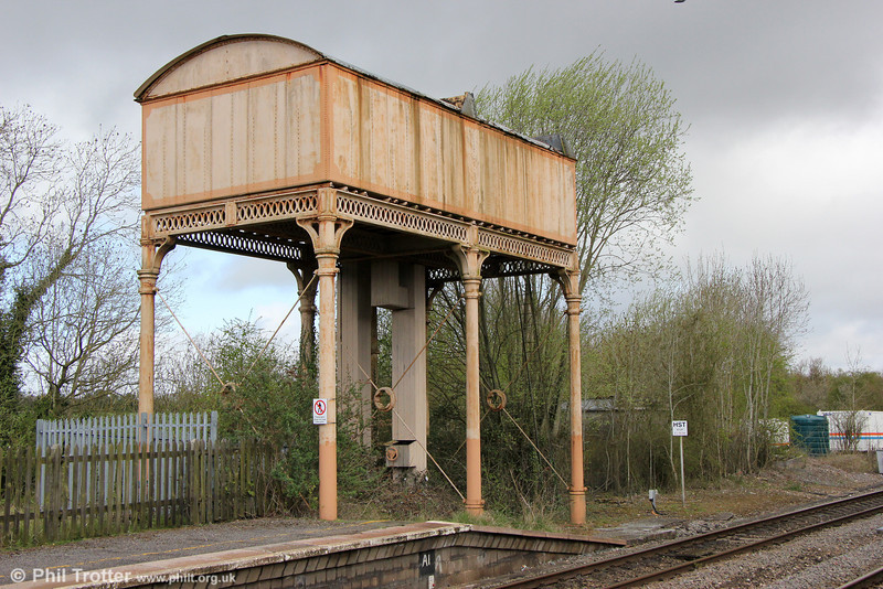 A significant relic from steam days is the water tank at Kemble Station, seen here on 4th May 2013.