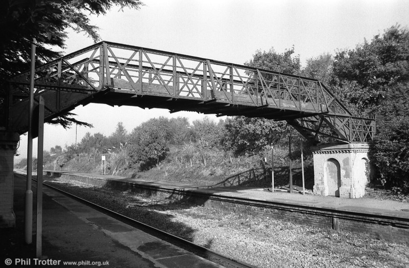 The redundant footbridge at Gowerton in 1987; it was dismantled and taken to the Gwili Railway in February the following year.