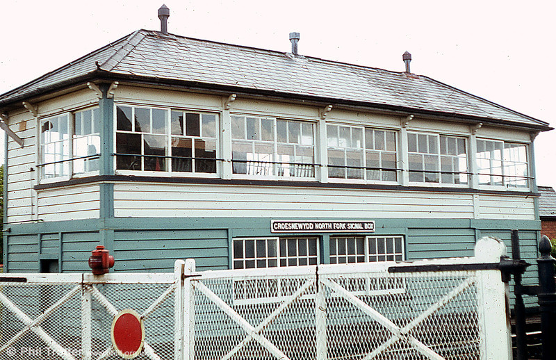 Croesnewydd North Fork Signal Box, Wrexham in 1979. This was once one of several substantial signalboxes in this area.