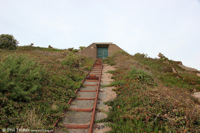 The La Moye Quarry incline looking uphill from the same standpoint as the previous picture, 20th September 2012.
