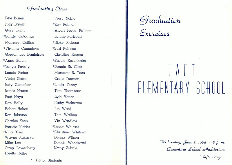1964; 8th grade  graduation; taft grade school; program