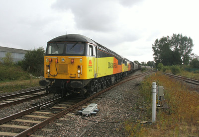 56113 Aldermaston (Padworth Crossing) 02/08/14 6V62 Tilbury to Llanwern with 56087 passing just before the rain started