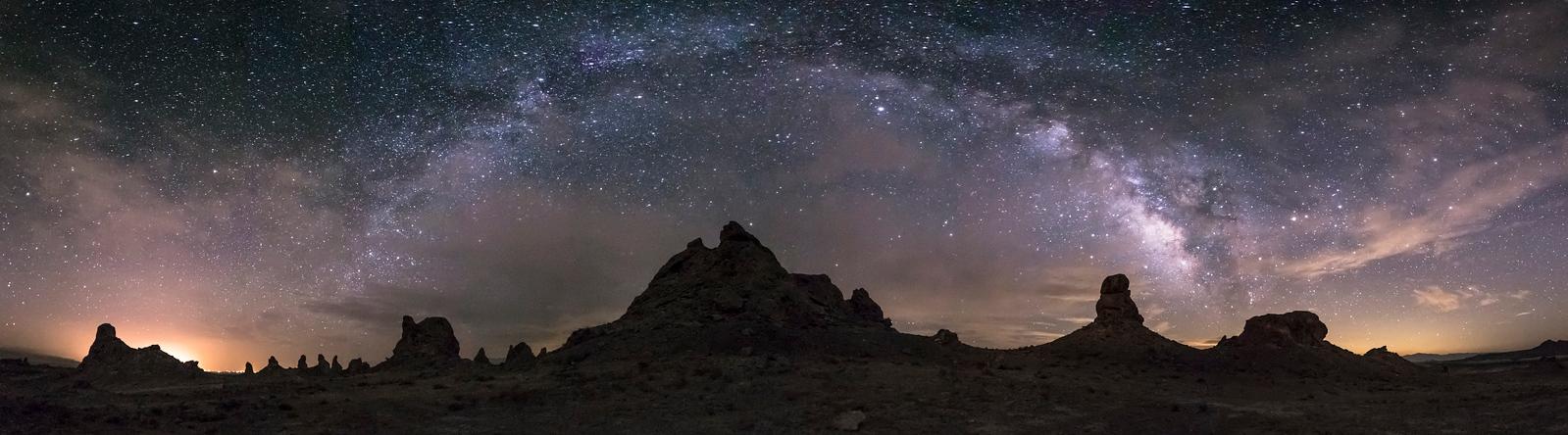 Partly Cloudy Milky Way Panorama at the Trona Pinnacles