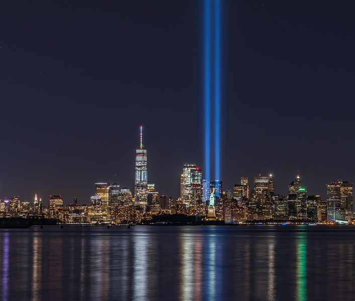 The Tribute in Light Over The Statue of Liberty 9/10/17