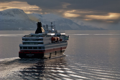 Hurtigruten ship Nordkapp on it's way out from Molde