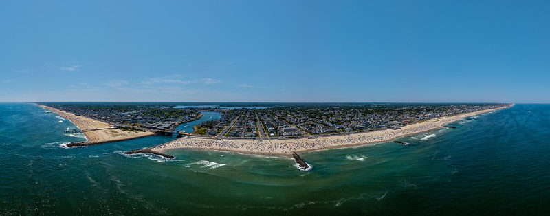 Perfect Beach Day Over Shark River Inlet and Avon-by-the-Sea, Jersey Shore Panorama 6/30/18