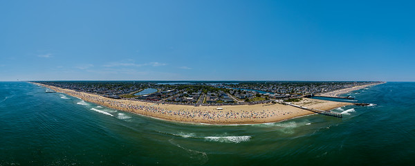 Perfect Beach Day Over Shark River Inlet and Belmar, Jersey Shore Panorama 6/30/18