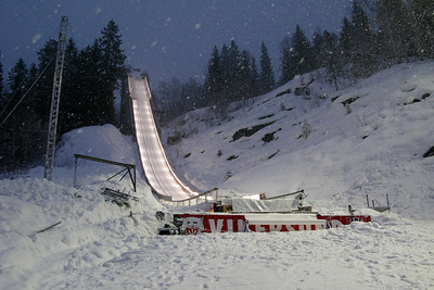 The inrun of Vikersund ski flying hill, taken during World Cup 2009