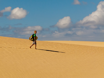Walking in the desert Dunas de Corralejo of Fuerteventura (just taking a short cut back from the beach....)