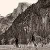 Native American village reinactment in Yosemite Valley during the filming of the movie Maverick.