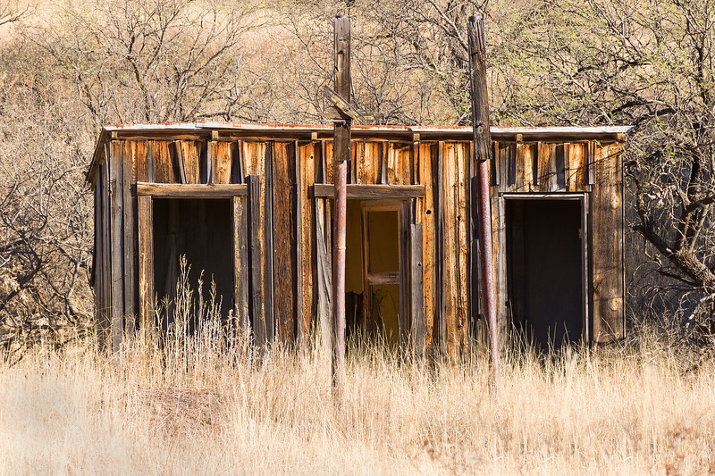 Three hole outhouse in Ruby, AZ