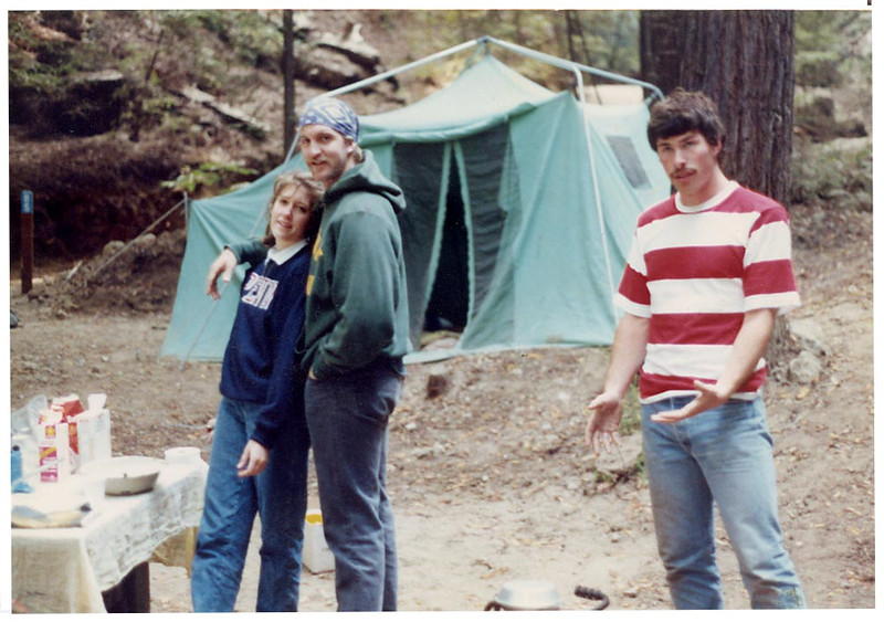 That is me with my sister, Gretchen and my good friend Charlie Wilshire on the right.  We were camping at Big Sur in California in September of 1987.