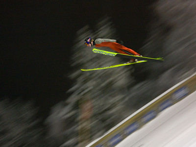 Training in the floodlit Vikersund K-105 hill