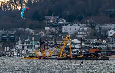 Kiteboarder in Sandy Hook Bay 12/1/16
