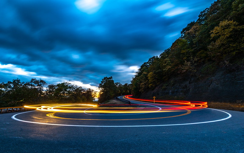 Car Trails on Hairpin Turn in Mohonk Preserve 10/24/18