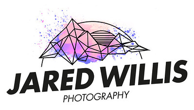 Jared Willis Photography Logo. Geometric mountains with sun setting behind them. Splattered with pink, orange, and purple watercolors. Jared Willis Photography in large text underneath.