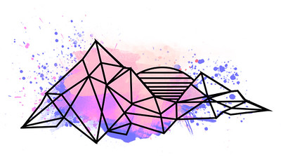 Jared Willis Photography Logo without text. Geometric mountains with sun setting behind them. Splattered with pink, orange, and purple watercolors.