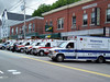Ambulances staged on South Main Street in Uxbridge, MA during the massive 8 alarm fire that consumed the Bernat Mill complex.