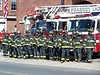 Peabody Firefighters line up outside headquarters on Lowell St. prior to a funeral procession.