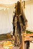 animal pelts at colonial reenactment