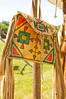 buckskin bag with fringe at colonial reenactment