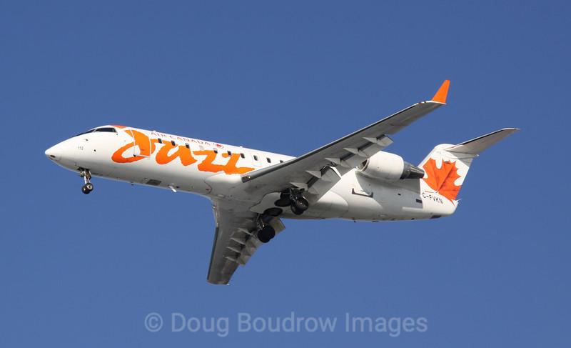 Air Canada Jazz CRJ200 on final approach to Boston Logan, 1-16-09.