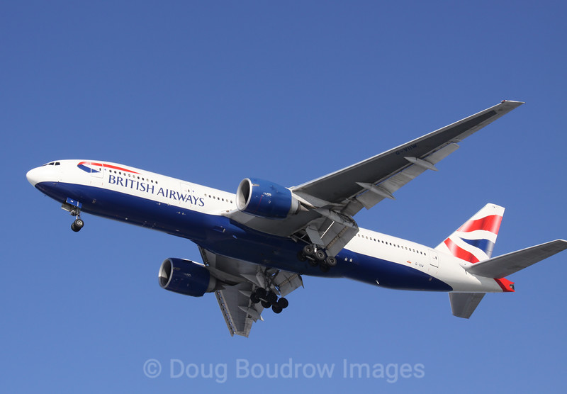 British Airways Boeing 777 on final approach to Boston Logan, 1-16-09.