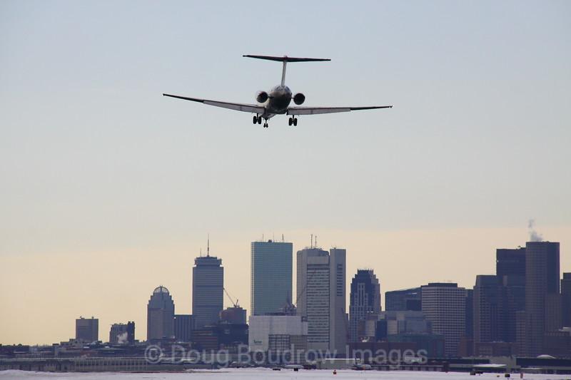 Delta Airlines MD80 lands at Boston Logan, 1-21-09.