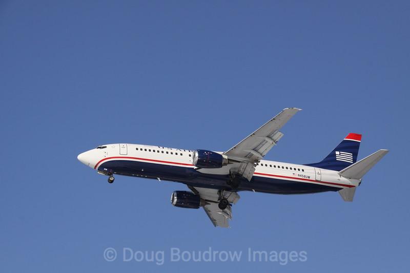 US Airways Boeing 737 on final approach to Boston Logan, 2-6-09.