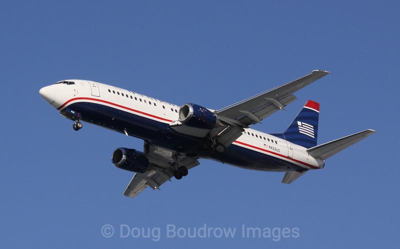 US Airways Boeing 737 on final approach to Boston Logan, 1-16-09.