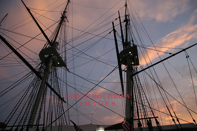 Baltimore, MD - USS Constellation masts at dusk, 7-21-07