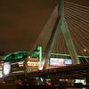 Boston, MA - Zakim Bridge and TD Bank North Garden with green lights for Celtics playoffs, 6-5-08