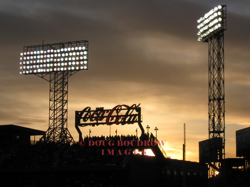 Boston, MA - The Lights at Fenway Park as the sun sets, 4-16-09.