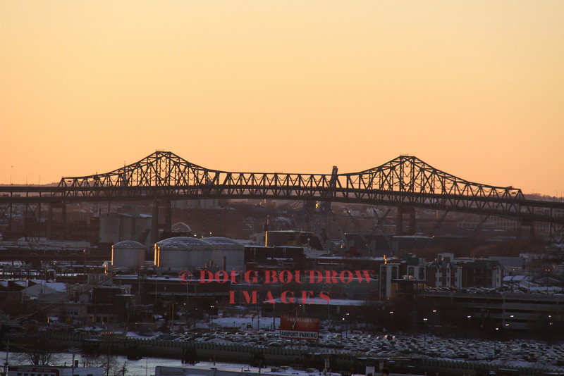 Boston, MA - The Tobin Bridge at sunset as seen from Orient Heights in East Boston, 1-24-09.