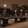 Boston, MA - The world's shortest suspension bridge located at the Public Garden, picture taken during a snowstorm, 1-2-10.