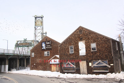 Portsmouth, NH - Abandoned buildings with bridge in background, 1-15-09.