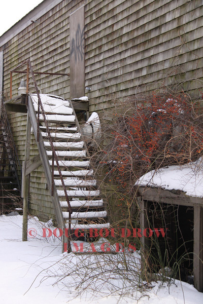 Portsmouth, NH - Snow covered stairway on an abandoned building, 1-15-09.