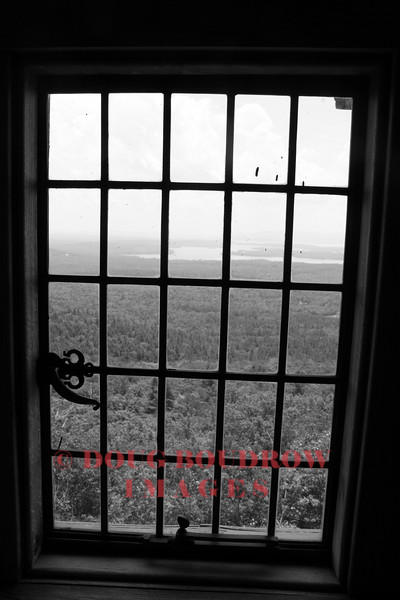 """Moultonborough, NH - Looking out one of the windows of """"Castle in the Clouds"""" to Lake Winnipesaukee, 7-11-09."""