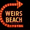 Laconia, NH - Famous Weirs Beach sign lit up at night, 7-9-09.