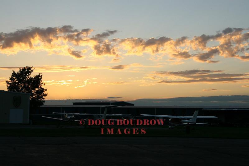 North Andover, MA - Aircraft on ramp at Lawrence Airport at dusk, 8-30-07