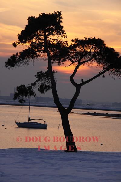 Winthrop, MA - Winthrop Harbor, as seen from Winthrop Public Landing at dusk, 1-23-09.