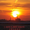 Winthrop, MA - The sun sets with the power plant in South Boston in the foreground, 1-22-09.