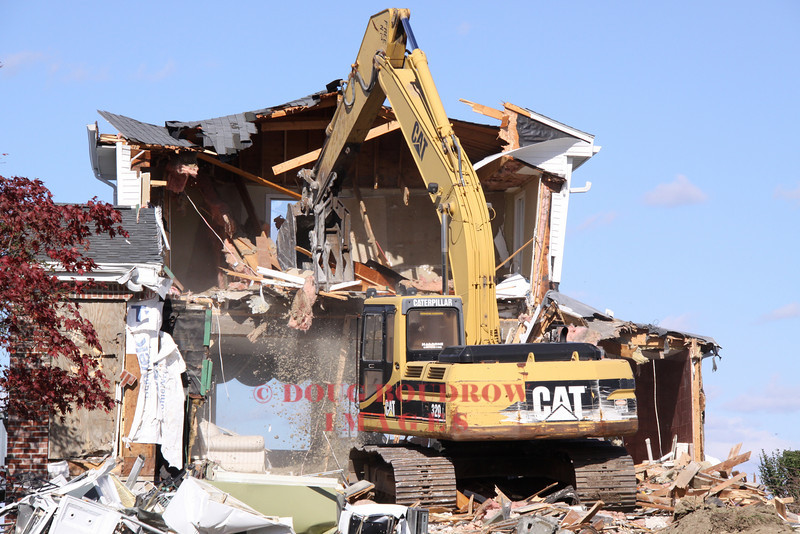 Winthrop, MA - A house on the coast is demolished to make room for a new home, 10-18-10.